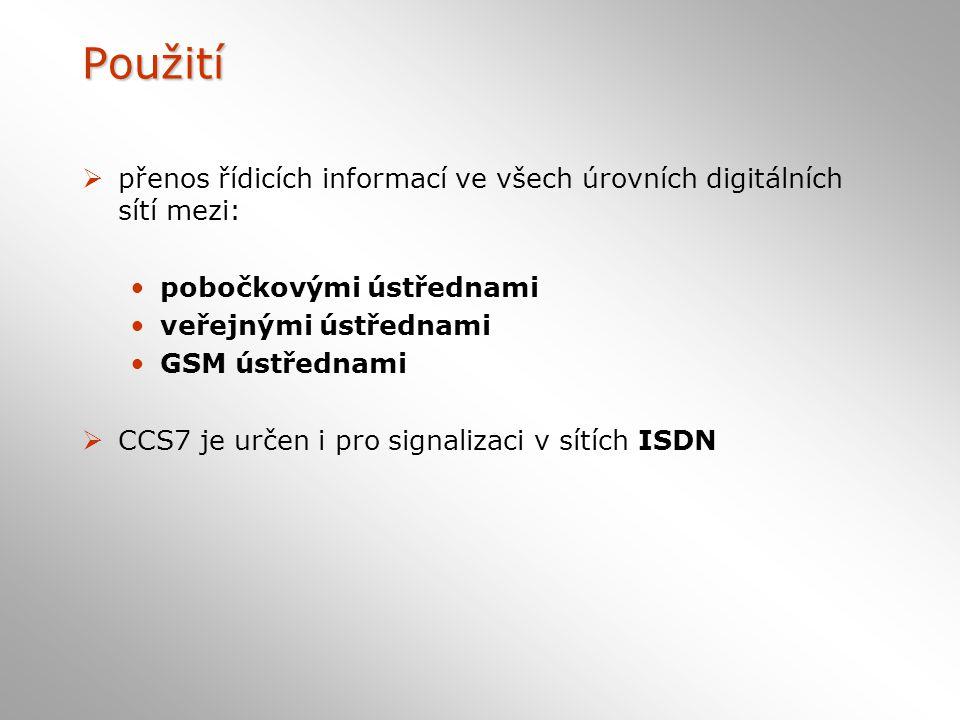 Použití  přenos řídicích informací ve všech úrovních digitálních sítí mezi: pobočkovými ústřednami veřejnými ústřednami GSM ústřednami  CCS7 je určen i pro signalizaci v sítích ISDN