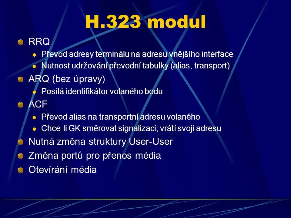 H.323 modul RRQ Převod adresy terminálu na adresu vnějšího interface Nutnost udržování převodní tabulky (alias, transport) ARQ (bez úpravy) Posílá identifikátor volaného bodu ACF Převod alias na transportní adresu volaného Chce-li GK směrovat signalizaci, vrátí svoji adresu Nutná změna struktury User-User Změna portů pro přenos média Otevírání média