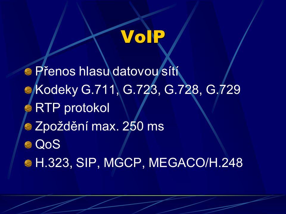 VoIP Přenos hlasu datovou sítí Kodeky G.711, G.723, G.728, G.729 RTP protokol Zpoždění max.