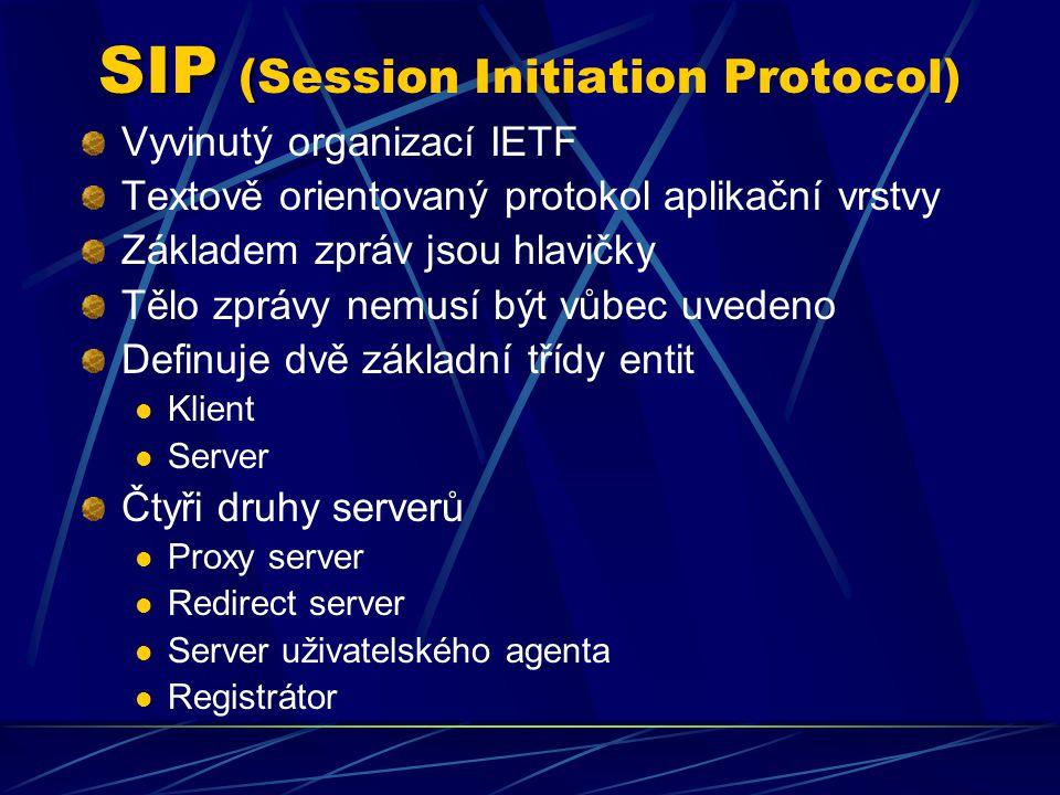 SIP ( SIP (Session Initiation Protocol) Vyvinutý organizací IETF Textově orientovaný protokol aplikační vrstvy Základem zpráv jsou hlavičky Tělo zprávy nemusí být vůbec uvedeno Definuje dvě základní třídy entit Klient Server Čtyři druhy serverů Proxy server Redirect server Server uživatelského agenta Registrátor