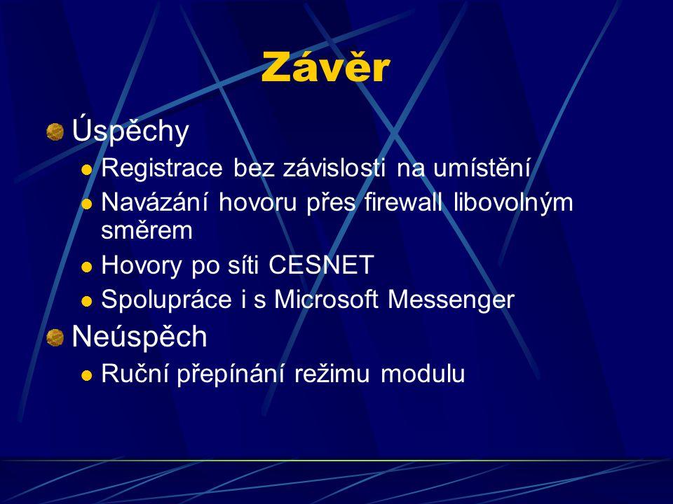 Závěr Úspěchy Registrace bez závislosti na umístění Navázání hovoru přes firewall libovolným směrem Hovory po síti CESNET Spolupráce i s Microsoft Messenger Neúspěch Ruční přepínání režimu modulu