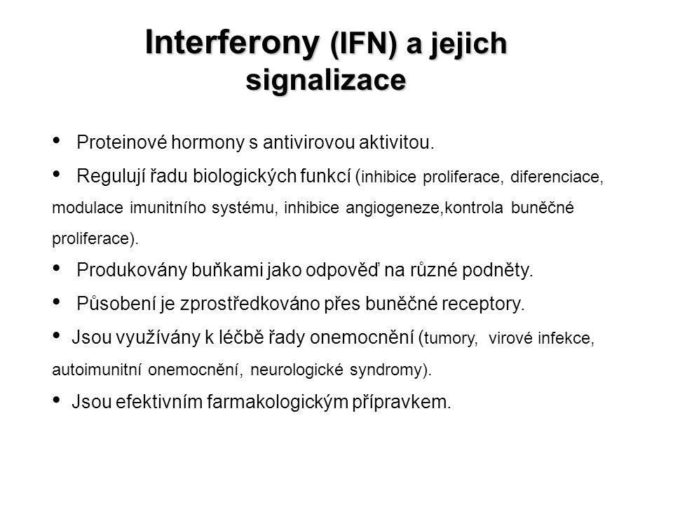 Interferony (IFN) a jejich signalizace Proteinové hormony s antivirovou aktivitou. Regulují řadu biologických funkcí ( inhibice proliferace, diferenci
