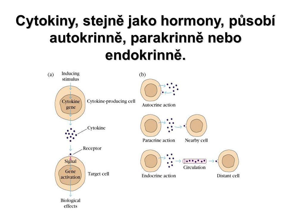 Nomenklatura cytokinů Lymfokiny Lymfokiny - produkují aktivované T-lymphocyty, řídí odpověď imunitního systému signalizací mezi imunokompetentními buňkami.