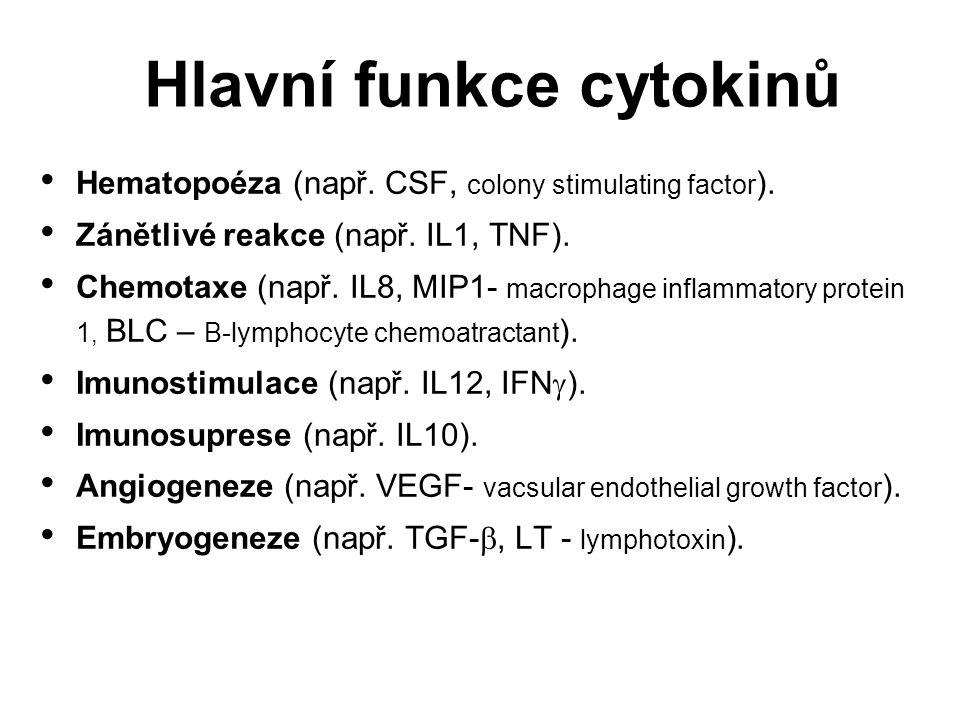 Receptory typu I rodina hematopoetinu : IL 2, IL 3, IL 4, IL 5, IL 6, IL7, IL 9, IL 13, IL 15, GM-CSF (faktor stimulující kolonie granulocytů a makrofágů ) a G-CSF (faktor stimulující kolonie granulocytů) Receptory typu I (rodina receptorů hematopoetinu) : IL 2, IL 3, IL 4, IL 5, IL 6, IL7, IL 9, IL 13, IL 15, GM-CSF (faktor stimulující kolonie granulocytů a makrofágů ) a G-CSF (faktor stimulující kolonie granulocytů) Receptory typu II - Receptory typu II - receptory interferonů Receptory pro TGF Receptory pro TGF Receptory pro TNF Receptory pro TNF Imunoglobulinová superrodina (IgSF) Imunoglobulinová superrodina (IgSF) Receptory chemokinů Receptory chemokinů Klasifikace receptorů cytokinů