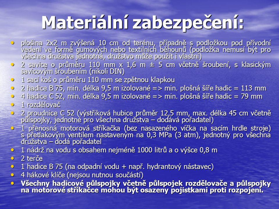 Materiální zabezpečení: Materiální zabezpečení: plošina 2x2 m zvýšená 10 cm od terénu, případně s podložkou pod přívodní vedení ve formě gumových nebo