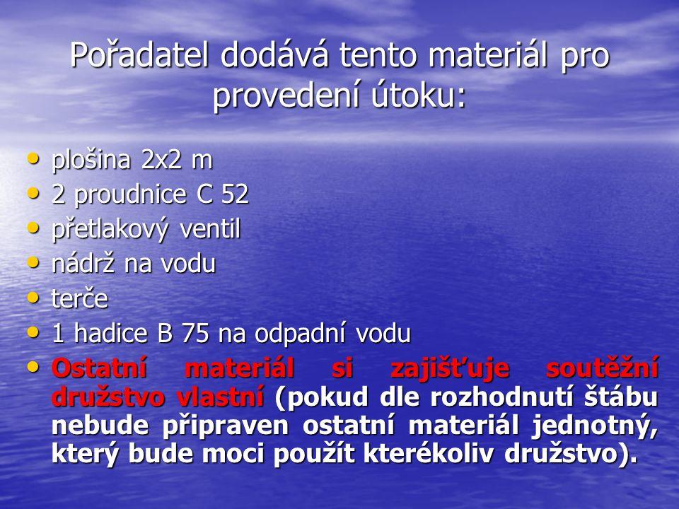 Pořadatel dodává tento materiál pro provedení útoku: plošina 2x2 m plošina 2x2 m 2 proudnice C 52 2 proudnice C 52 přetlakový ventil přetlakový ventil