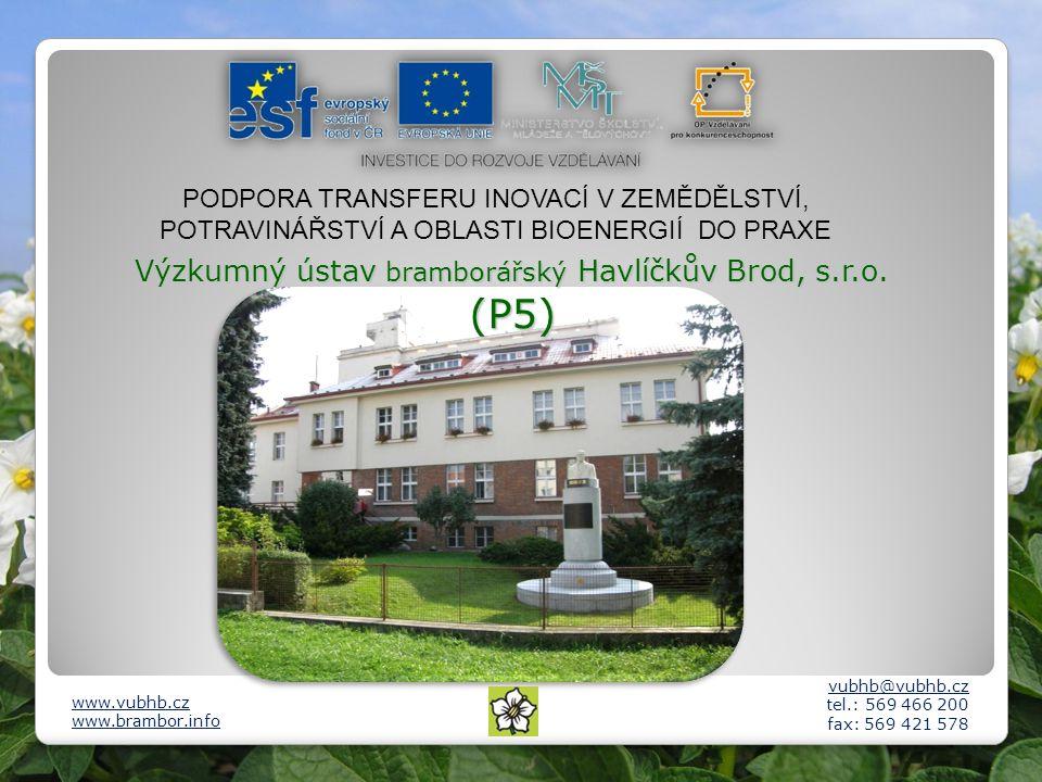 Výzkumný ústav bramborářský Havlíčkův Brod, s.r.o. (P5) vubhb@vubhb.cz tel.: 569 466 200 fax: 569 421 578 www.vubhb.cz www.brambor.info PODPORA TRANSF