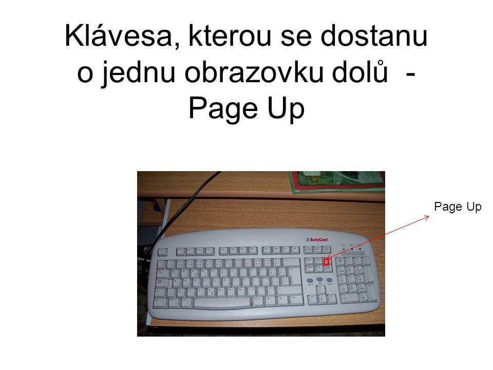 Klávesa, kterou se dostanu o jednu obrazovku dolů - Page Up Page Up
