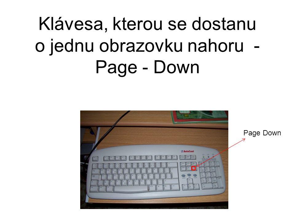 Klávesa, kterou se dostanu o jednu obrazovku nahoru - Page - Down Page Down
