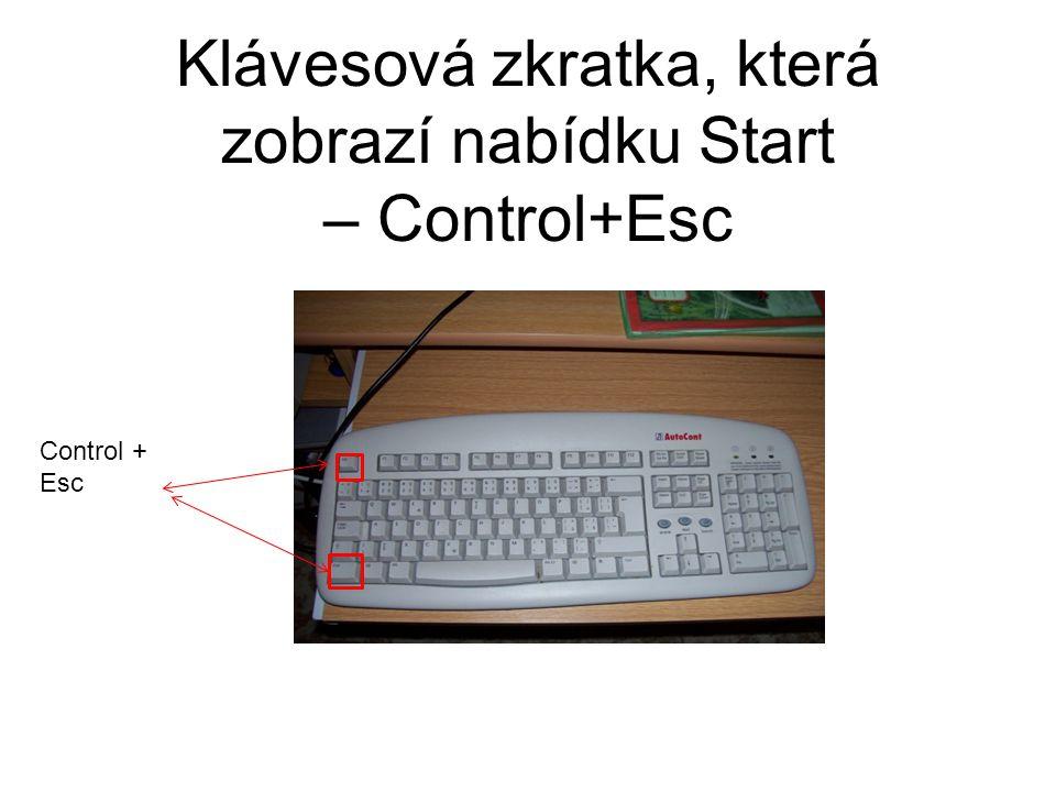 Klávesová zkratka, která zobrazí nabídku Start – Control+Esc Control + Esc