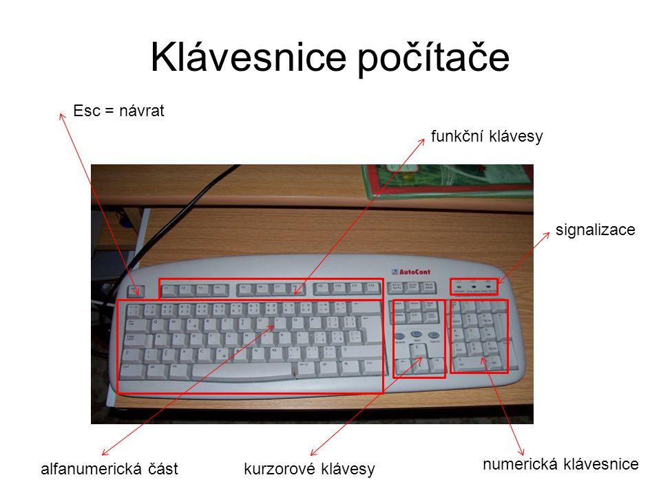 Klávesnice počítače Esc = návrat funkční klávesy numerická klávesnice alfanumerická částkurzorové klávesy signalizace