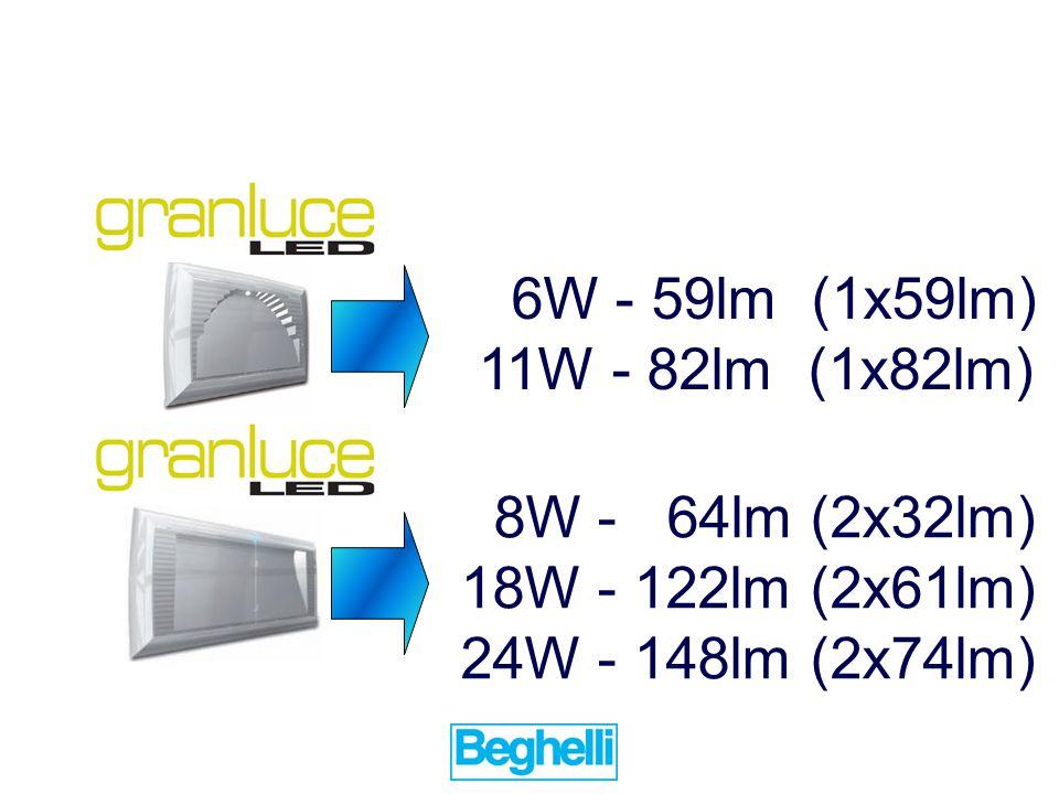 6W - 59lm (1x59lm) 11W - 82lm (1x82lm) 8W - 64lm (2x32lm) 18W - 122lm (2x61lm) 24W - 148lm (2x74lm)