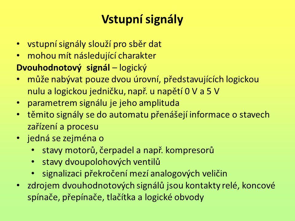 Vstupní signály vstupní signály slouží pro sběr dat mohou mít následující charakter Dvouhodnotový signál – logický může nabývat pouze dvou úrovní, představujících logickou nulu a logickou jedničku, např.