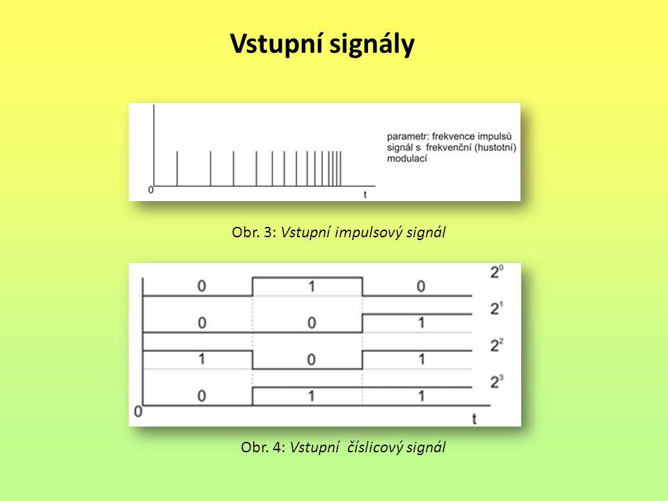Výstupní signály na výstupu se využívají tyto signály dvouhodnotové signály pro ovládání signály pro signalizaci hodnota signálu je v tomto případě udržována na konstantní hodnotě až do okamžiku příchodu následujícího povelu, vycházejícího z výsledku výpočtu řídicího algoritmu impulsové využívají se signály s šířkovou modulací k rozlišení orientace signálu je nutný ještě jeden dvouhodnotový signál číslicové slouží pro číslicový přenos a zobrazování údajů je tvořen skupinou paralelních dvouhodnotových signálů, z nichž každý představuje jednu číslici dvojkového čísla