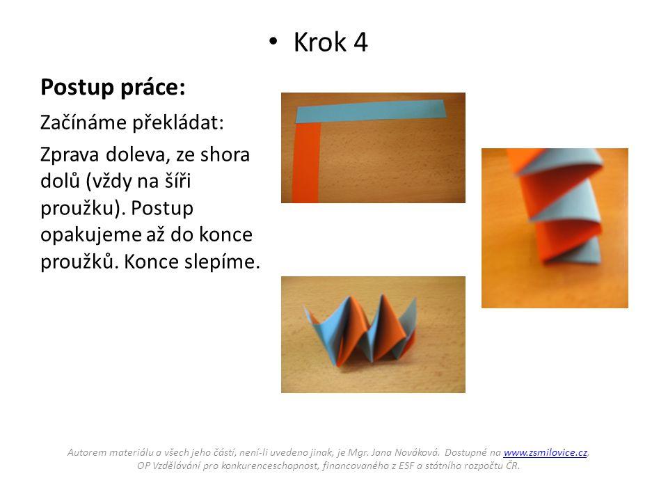 Postup práce: Krok 4 Začínáme překládat: Zprava doleva, ze shora dolů (vždy na šíři proužku).