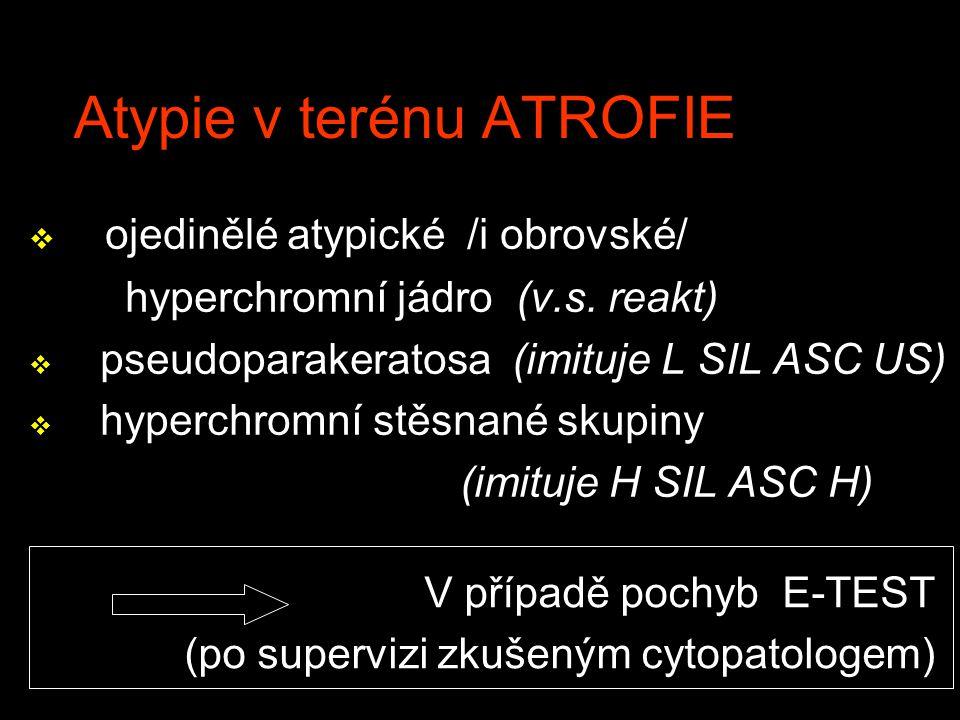 Atypie v terénu ATROFIE v ojedinělé atypické /i obrovské/ hyperchromní jádro (v.s. reakt) v pseudoparakeratosa (imituje L SIL ASC US) v hyperchromní s