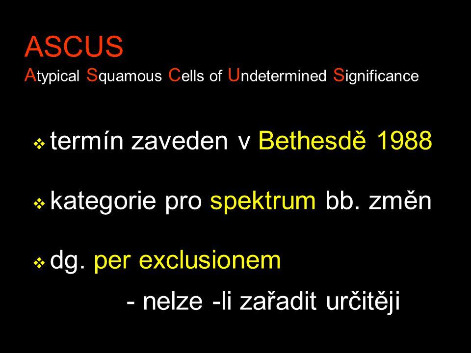 ASCUS A typical S quamous C ells of U ndetermined S ignificance v termín zaveden v Bethesdě 1988 v kategorie pro spektrum bb. změn v dg. per exclusion