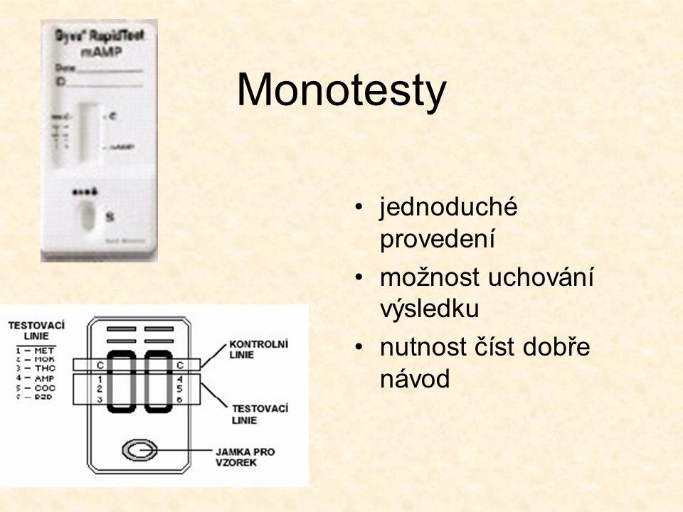 Monotesty jednoduché provedení možnost uchování výsledku nutnost číst dobře návod