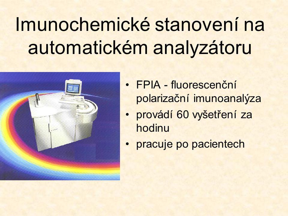 Imunochemické stanovení na automatickém analyzátoru FPIA - fluorescenční polarizační imunoanalýza provádí 60 vyšetření za hodinu pracuje po pacientech
