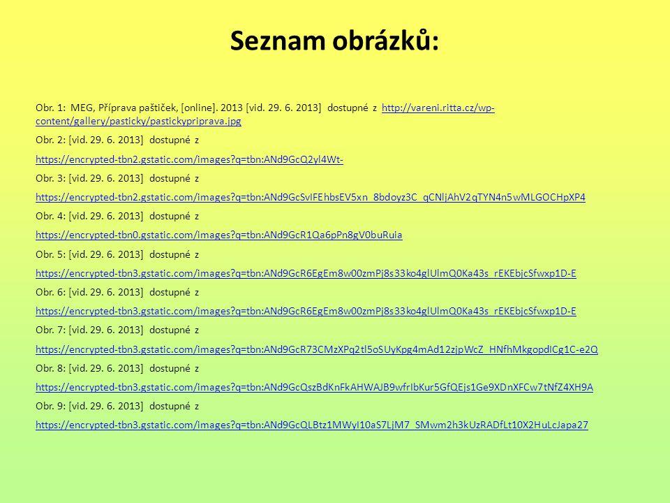Seznam obrázků: Obr. 1: MEG, Příprava paštiček, [online]. 2013 [vid. 29. 6. 2013] dostupné z http://vareni.ritta.cz/wp- content/gallery/pasticky/pasti