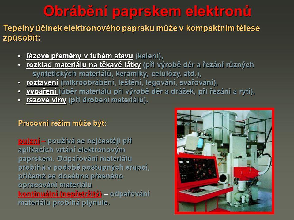 Tepelný účinek elektronového paprsku může v kompaktním tělese způsobit: Obrábění paprskem elektronů fázové přeměny v tuhém stavu (kalení), fázové přem