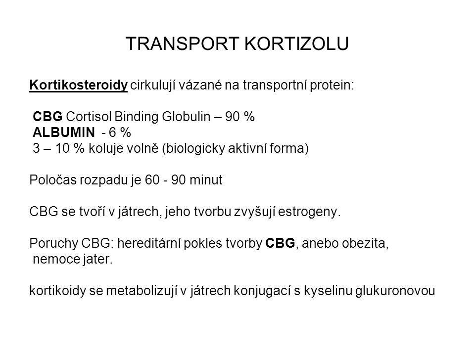 TRANSPORT KORTIZOLU Kortikosteroidy cirkulují vázané na transportní protein: CBG Cortisol Binding Globulin – 90 % ALBUMIN - 6 % 3 – 10 % koluje volně