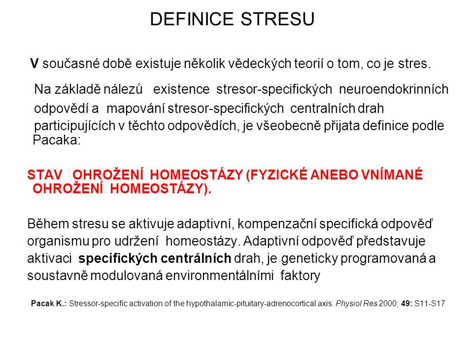 DEFINICE STRESU V současné době existuje několik vědeckých teorií o tom, co je stres. Na základě nálezů existence stresor-specifických neuroendokrinní