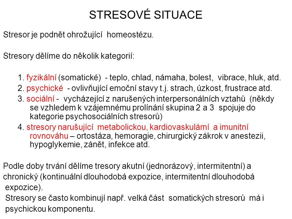 STRESOVÉ SITUACE Stresor je podnět ohrožující homeostézu. Stresory dělíme do několik kategorií: 1. fyzikální (somatické) - teplo, chlad, námaha, boles