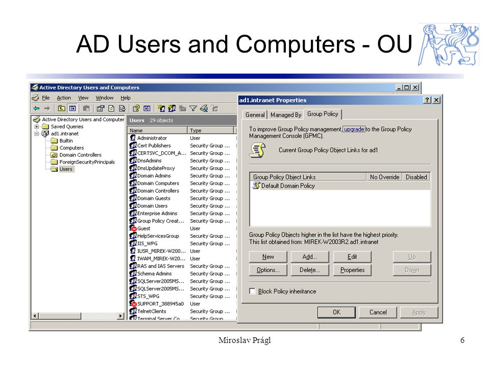 Miroslav Prágl6 AD Users and Computers - OU