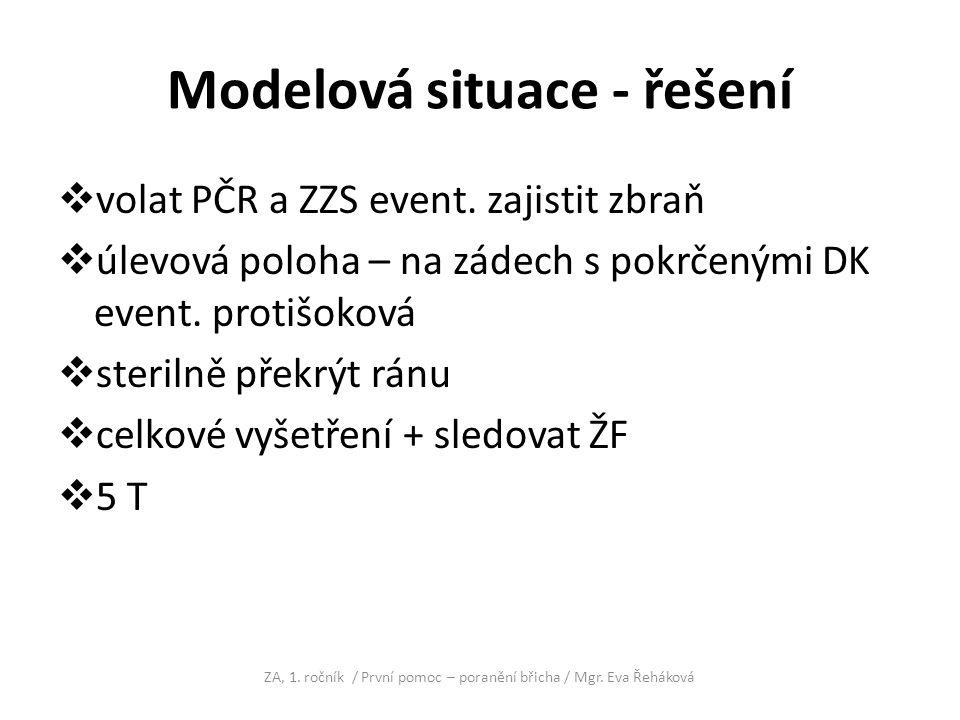 Modelová situace - řešení  volat PČR a ZZS event. zajistit zbraň  úlevová poloha – na zádech s pokrčenými DK event. protišoková  sterilně překrýt r