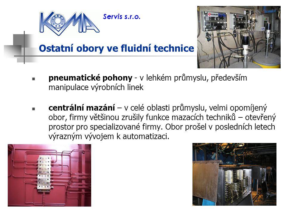 Ostatní obory ve fluidní technice pneumatické pohony - v lehkém průmyslu, především manipulace výrobních linek centrální mazání – v celé oblasti průmy