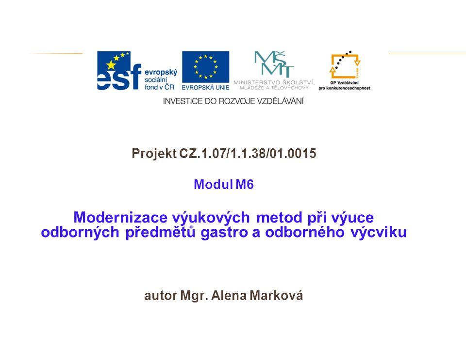 Projekt CZ.1.07/1.1.38/01.0015 Modul M6 Modernizace výukových metod při výuce odborných předmětů gastro a odborného výcviku autor Mgr. Alena Marková