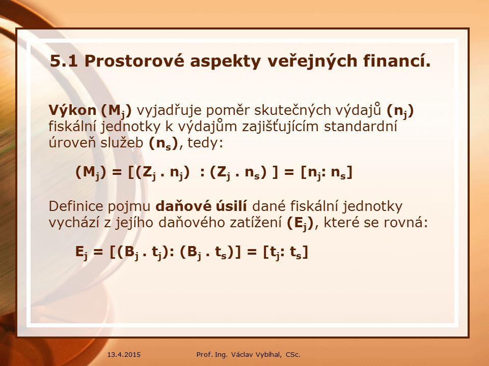 Prof.Ing. Václav Vybíhal, CSc.13.4.2015 5.1 Prostorové aspekty veřejných financí.