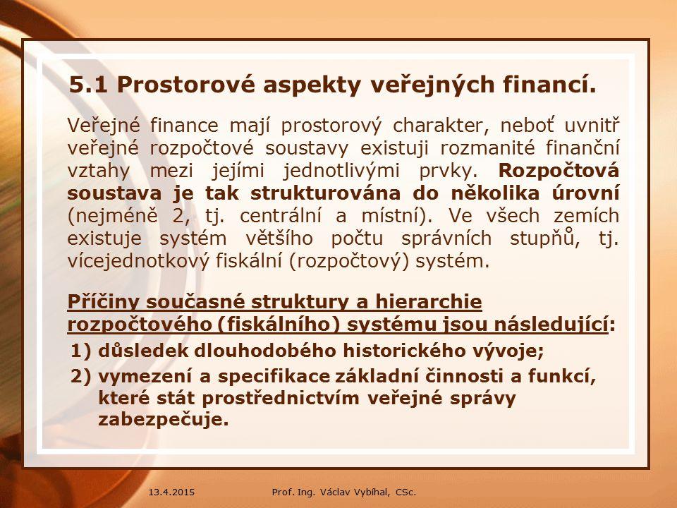5.1 Prostorové aspekty veřejných financí.Historie: 1.