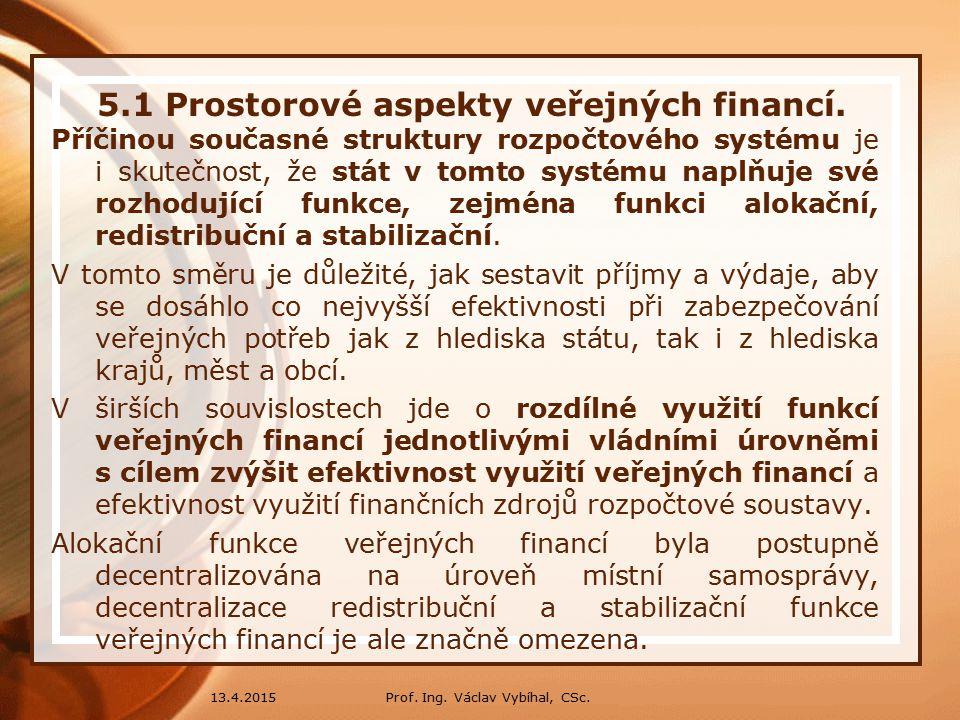 13.4.2015 5.1 Prostorové aspekty veřejných financí.