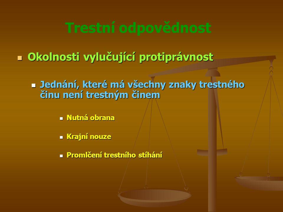 Trestní odpovědnost Okolnosti vylučující protiprávnost Okolnosti vylučující protiprávnost Jednání, které má všechny znaky trestného činu není trestným činem Jednání, které má všechny znaky trestného činu není trestným činem Nutná obrana Nutná obrana Krajní nouze Krajní nouze Promlčení trestního stíhání Promlčení trestního stíhání