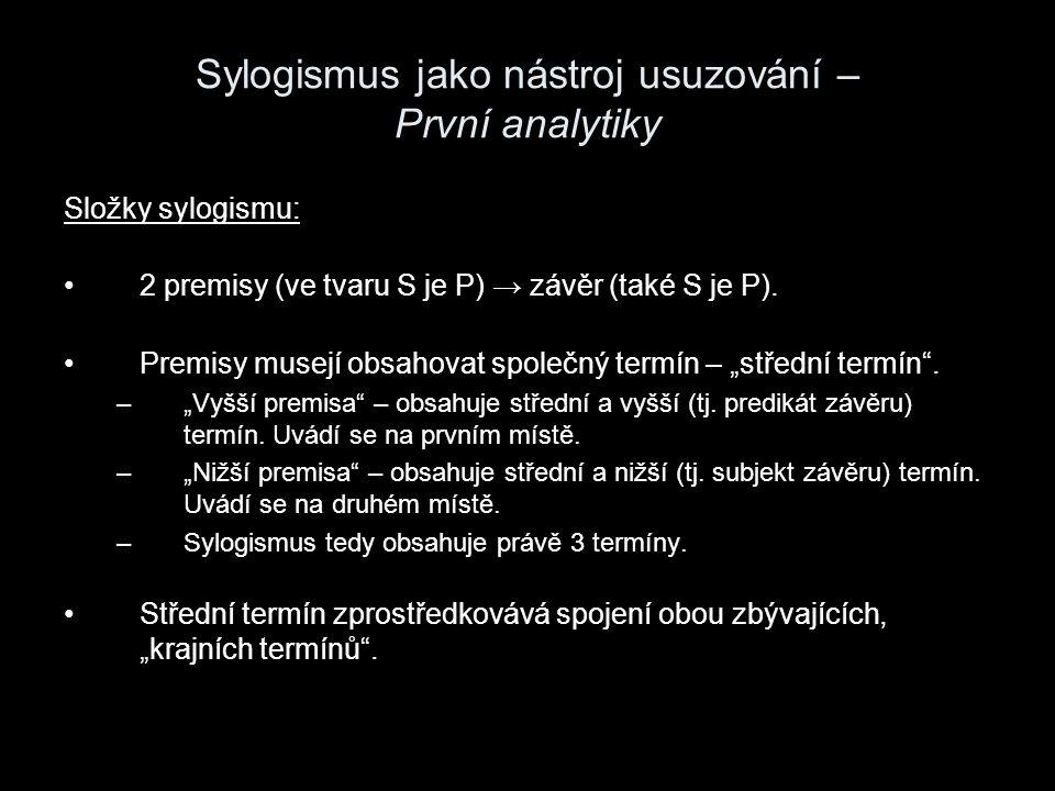 """Sylogismus jako nástroj usuzování – První analytiky Schéma – aristotelské figury ( σχήματα ): M je PP je MM je P S je MS je MM je S → S je P → S je P → S je P """"Cesta je tedy všude tatáž, ve filosofii i v kterémkoli umění a vědě. Charakter sylogismu (vědecký, dialektický, rétorický) v různých oblastech se liší v závislosti na charakteru počátků."""