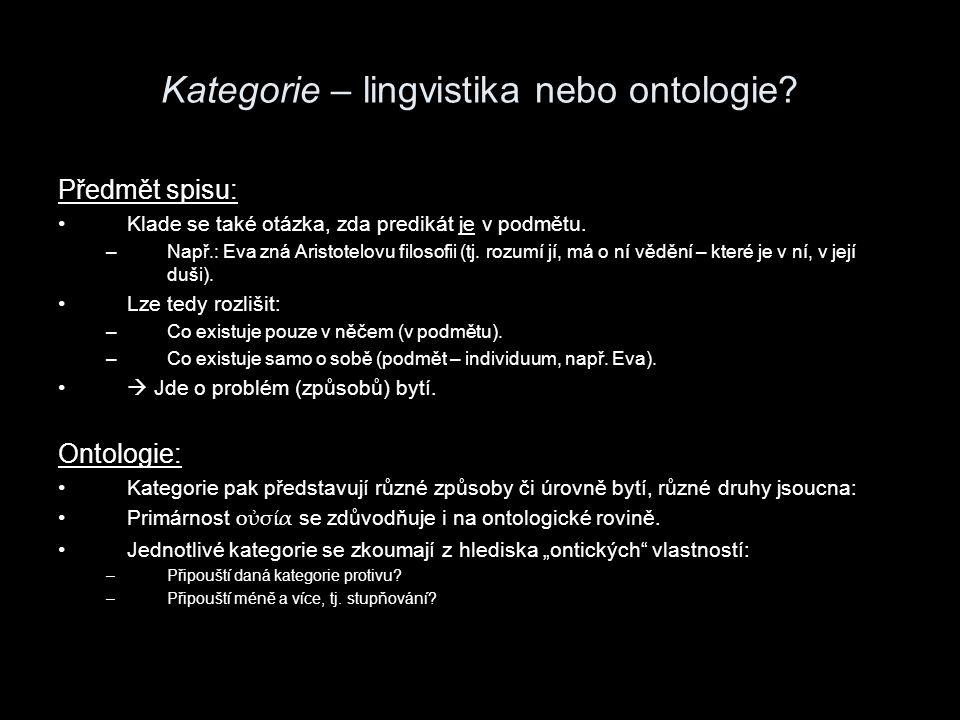 Kategorie – lingvistika nebo ontologie.Předmět spisu: U Dia, o čem to tedy vlastně je?.