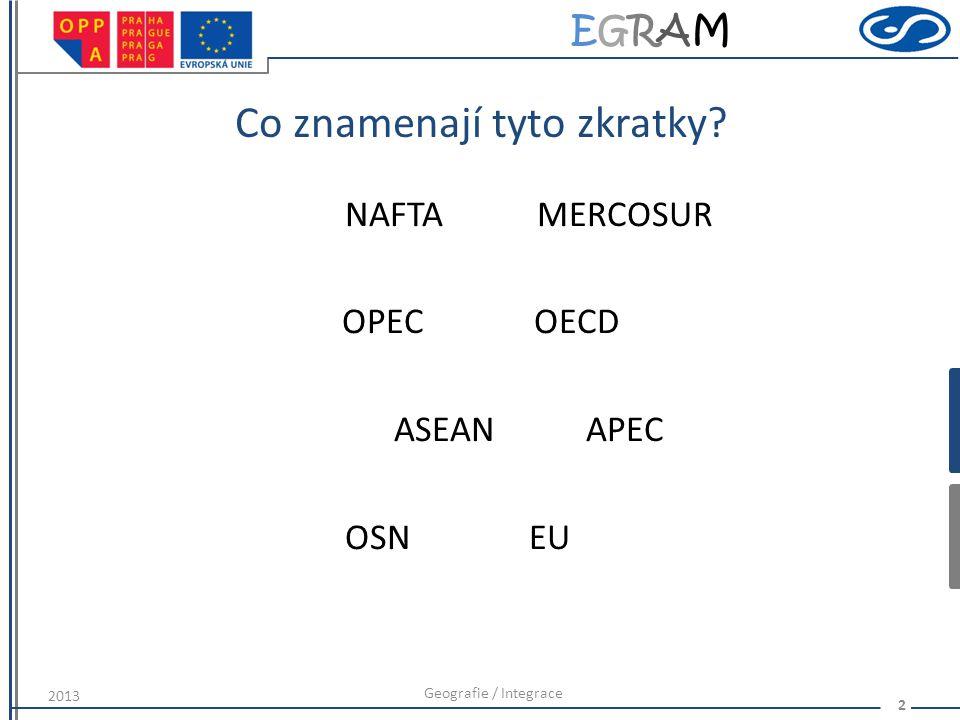 EGRAMEGRAM Co znamenají tyto zkratky? NAFTAMERCOSUR OPECOECD ASEANAPEC OSNEU Geografie / Integrace 2 2013