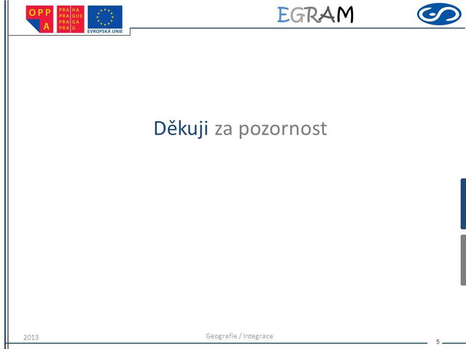EGRAMEGRAM 5 Děkuji za pozornost Geografie / Integrace 2013