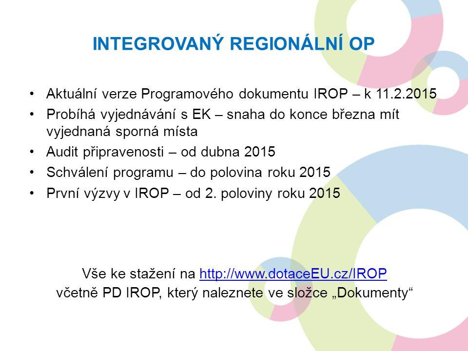 INTEGROVANÝ REGIONÁLNÍ OP Aktuální verze Programového dokumentu IROP – k 11.2.2015 Probíhá vyjednávání s EK – snaha do konce března mít vyjednaná spor