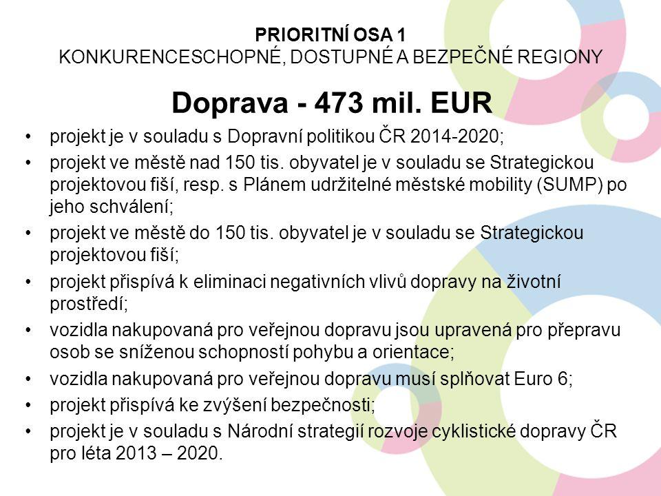 Doprava - 473 mil. EUR projekt je v souladu s Dopravní politikou ČR 2014-2020; projekt ve městě nad 150 tis. obyvatel je v souladu se Strategickou pro