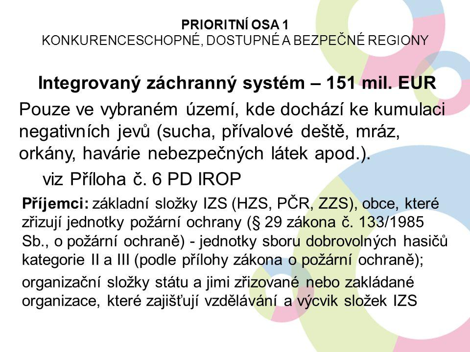 Integrovaný záchranný systém – 151 mil. EUR Pouze ve vybraném území, kde dochází ke kumulaci negativních jevů (sucha, přívalové deště, mráz, orkány, h