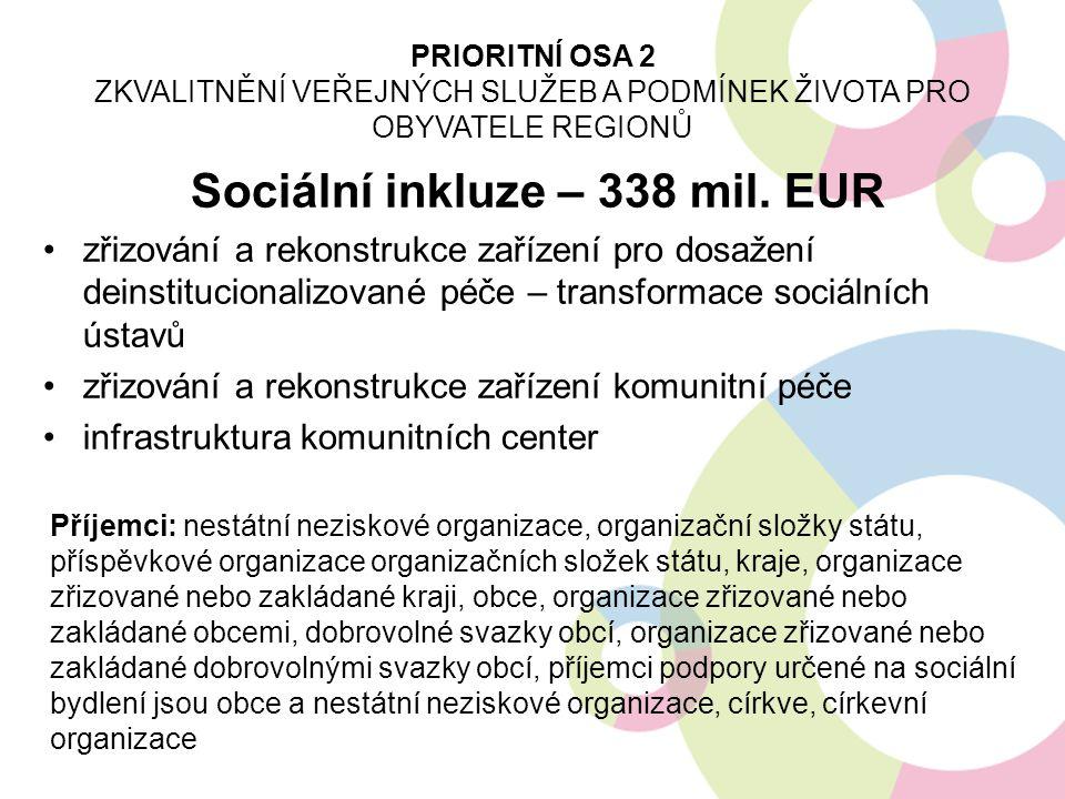 Sociální inkluze – 338 mil. EUR zřizování a rekonstrukce zařízení pro dosažení deinstitucionalizované péče – transformace sociálních ústavů zřizování
