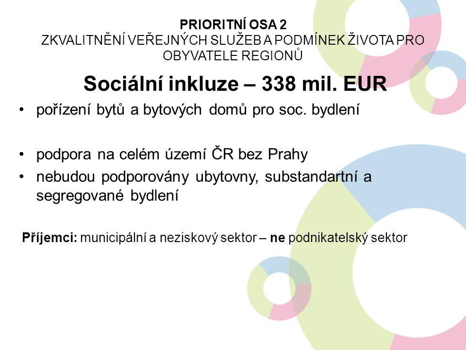 Sociální inkluze – 338 mil. EUR pořízení bytů a bytových domů pro soc. bydlení podpora na celém území ČR bez Prahy nebudou podporovány ubytovny, subst