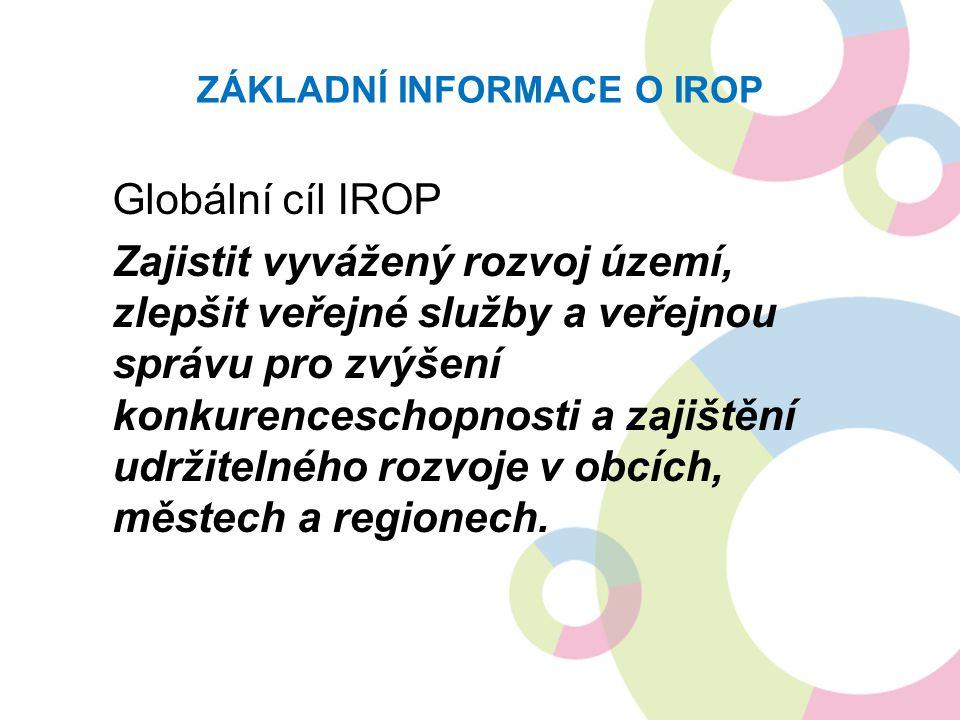 ZÁKLADNÍ INFORMACE O IROP Globální cíl IROP Zajistit vyvážený rozvoj území, zlepšit veřejné služby a veřejnou správu pro zvýšení konkurenceschopnosti