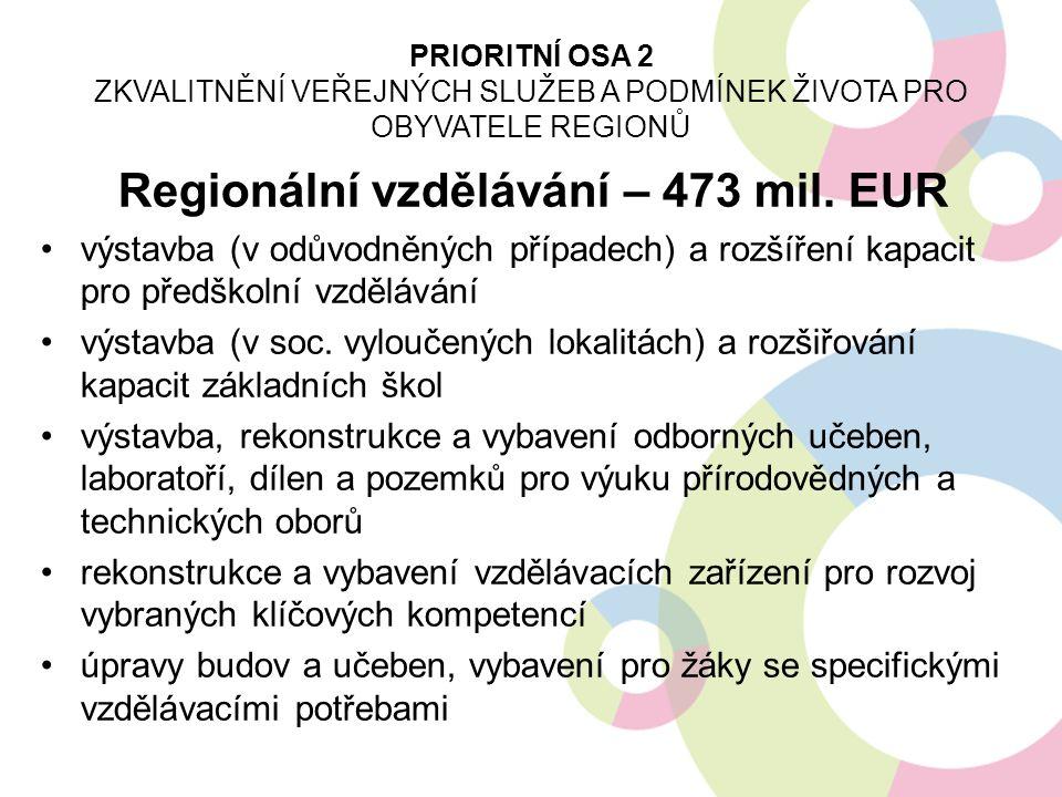 Regionální vzdělávání – 473 mil. EUR výstavba (v odůvodněných případech) a rozšíření kapacit pro předškolní vzdělávání výstavba (v soc. vyloučených lo