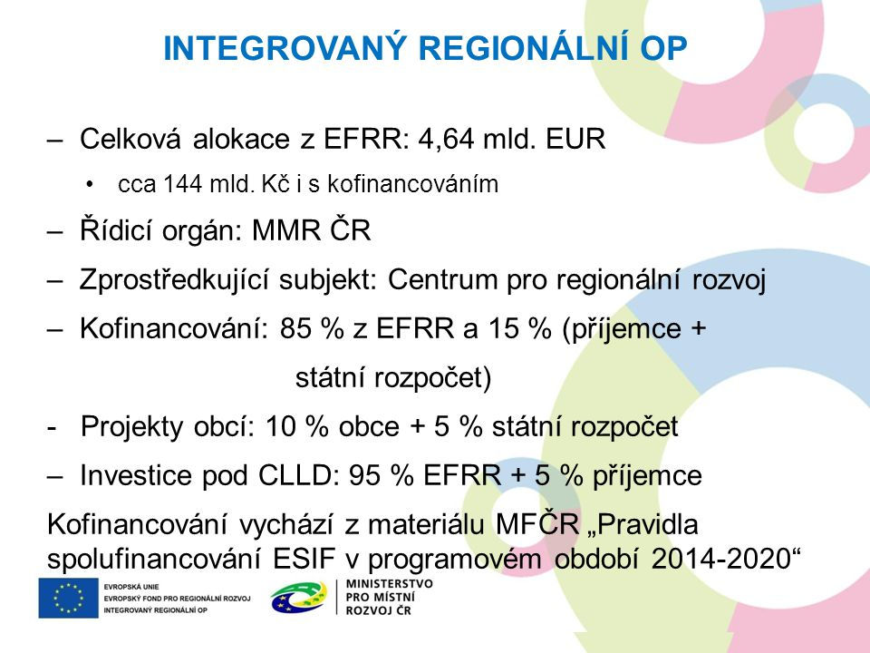 Novinky oproti období 2007-2013 –30 % alokace pro integrované nástroje ITI, IPRÚ, CLLD –Větší důraz na koordinaci programů (vazby jsou popsány v příloze č.