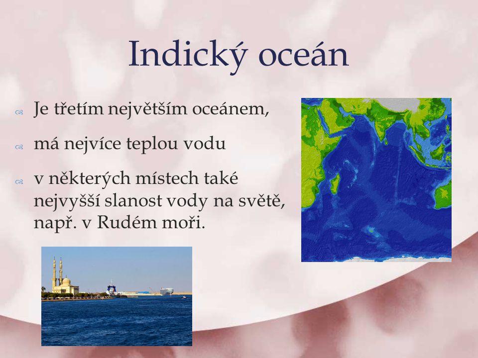  Je třetím největším oceánem,  má nejvíce teplou vodu  v některých místech také nejvyšší slanost vody na světě, např. v Rudém moři. Indický oceán