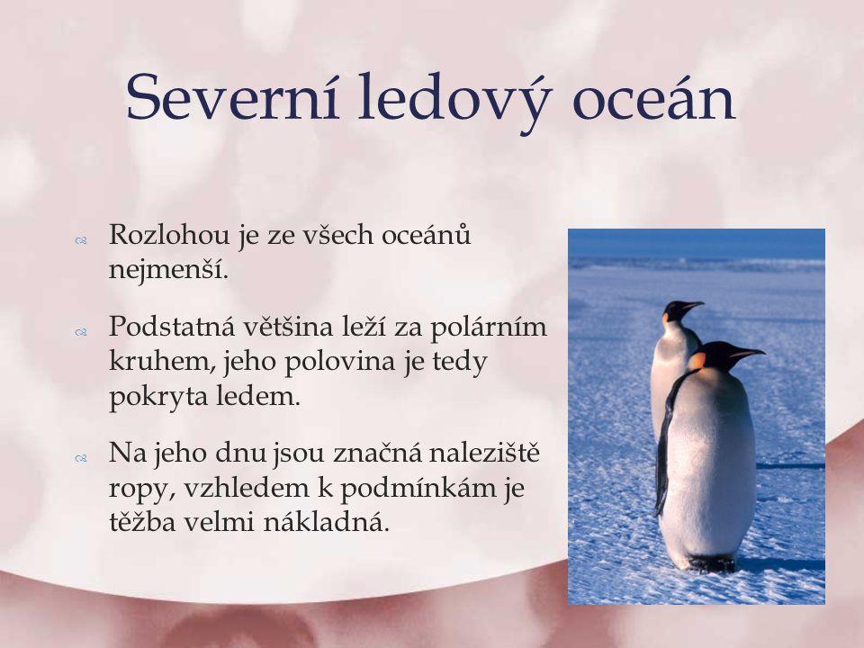  Rozlohou je ze všech oceánů nejmenší.  Podstatná většina leží za polárním kruhem, jeho polovina je tedy pokryta ledem.  Na jeho dnu jsou značná na